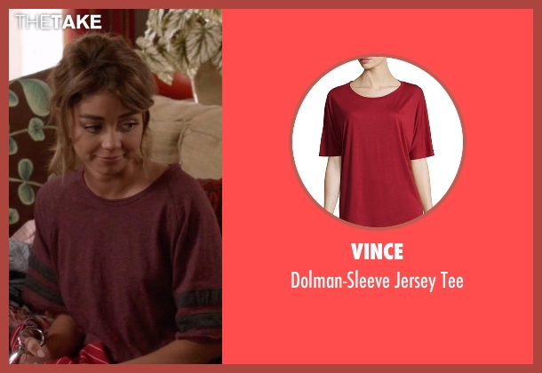 Vince red tee from Modern Family seen with Haley Dunphy (Sarah Hyland)