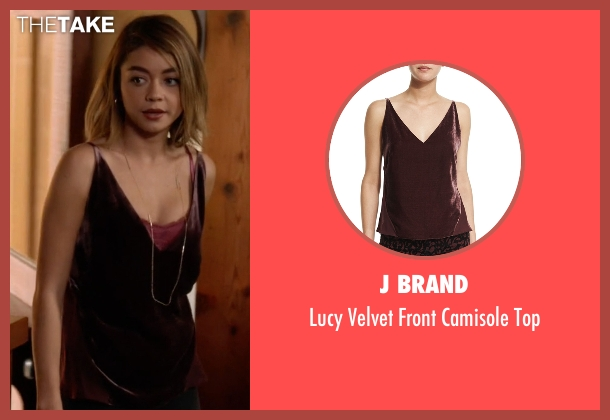 J Brand red top from Modern Family seen with Haley Dunphy (Sarah Hyland)