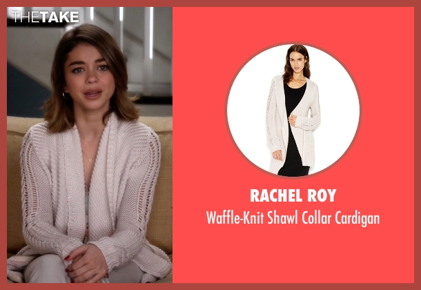 Rachel Roy white cardigan from Modern Family seen with Haley Dunphy (Sarah Hyland)