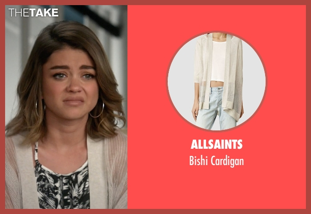 AllSaints white cardigan from Modern Family seen with Haley Dunphy (Sarah Hyland)