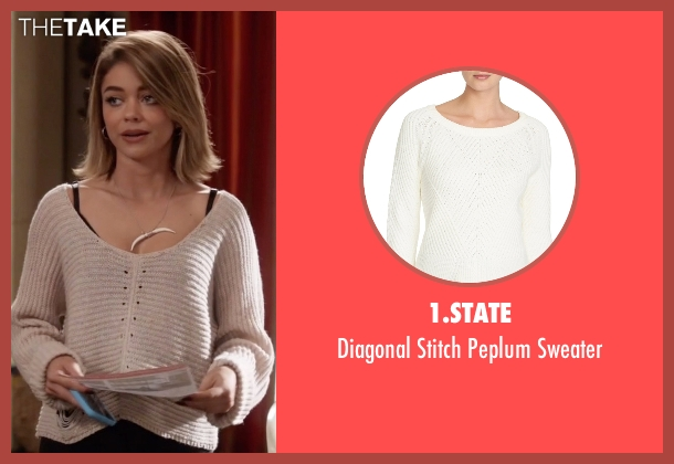 1.State white sweater from Modern Family seen with Haley Dunphy (Sarah Hyland)