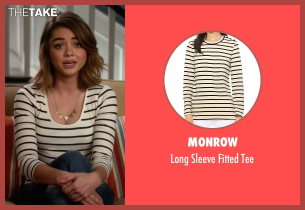 Monrow white tee from Modern Family seen with Haley Dunphy (Sarah Hyland)
