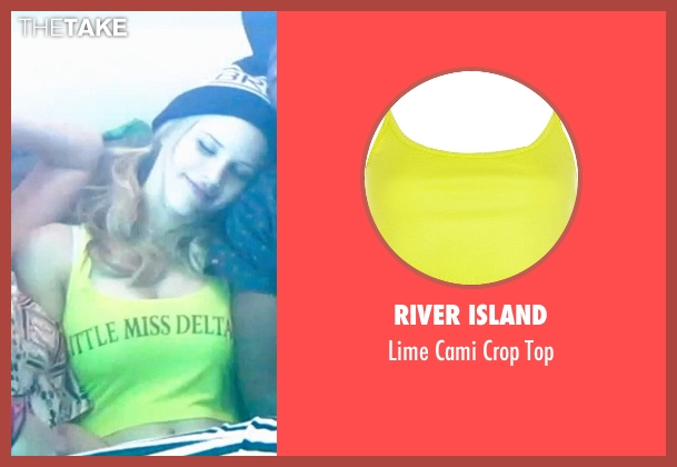 River Island yellow top from Neighbors seen with Halston Sage (Brooke)