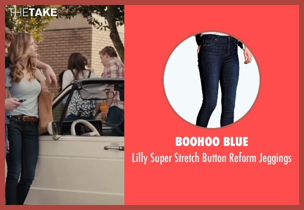 Boohoo Blue blue jeggings from Paper Towns seen with Halston Sage (Lacey Pemberton)