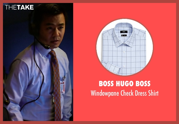 Boss Hugo Boss blue shirt from Need for Speed seen with Han Soto (News Producer)