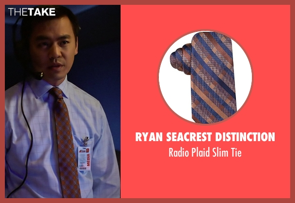 Ryan Seacrest Distinction brown tie from Need for Speed seen with Han Soto (News Producer)
