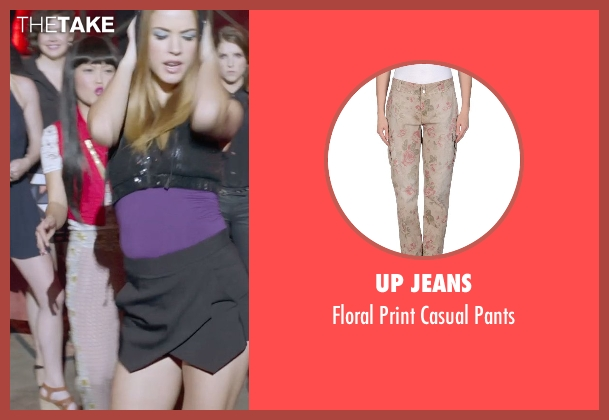 Up Jeans beige pants from Pitch Perfect 2 seen with Hana Mae Lee (Lilly Okanakamura)