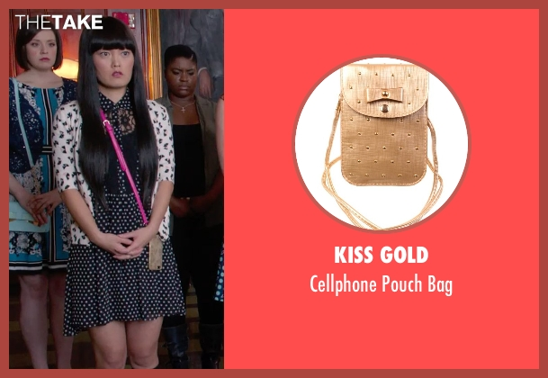 Kiss Gold gold bag from Pitch Perfect 2 seen with Hana Mae Lee (Lilly Okanakamura)