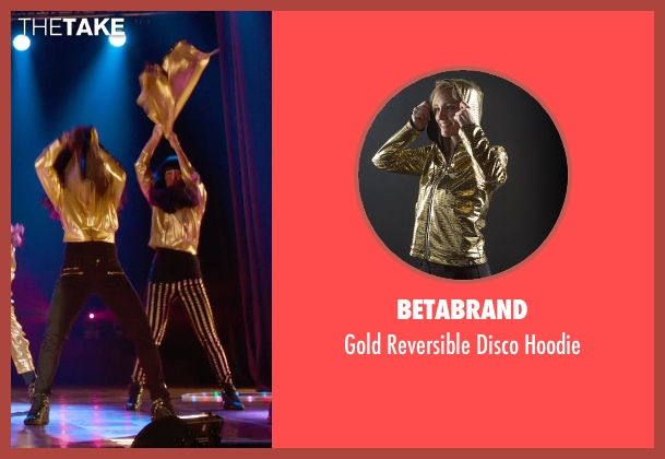 Betabrand gold hoodie from Pitch Perfect 2 seen with Hana Mae Lee (Lilly Okanakamura)