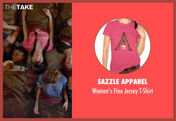 Sazzle Apparel pink t-shirt from Pitch Perfect 2 seen with Hana Mae Lee (Lilly Okanakamura)