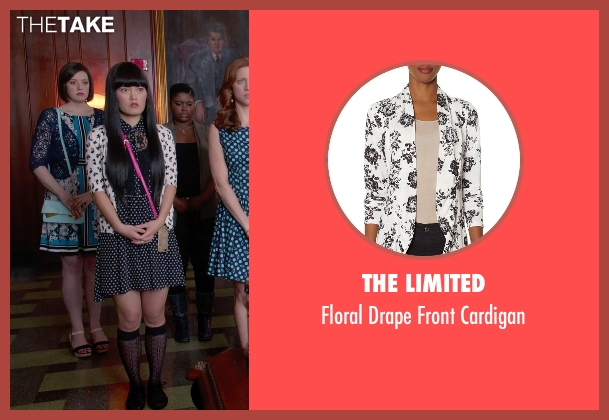 The LImited white cardigan from Pitch Perfect 2 seen with Hana Mae Lee (Lilly Okanakamura)