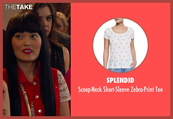Splendid white tee from Pitch Perfect 2 seen with Hana Mae Lee (Lilly Okanakamura)