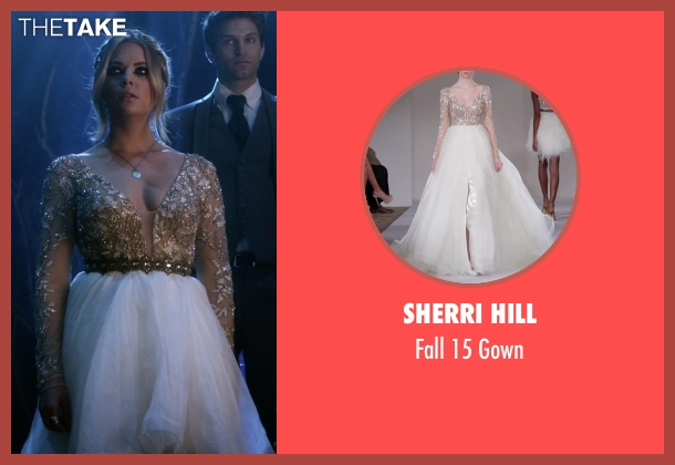 Sherri Hill beige gown from Pretty Little Liars seen with Hanna Marin (Ashley Benson)