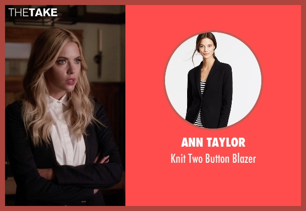 Ann Taylor black blazer from Pretty Little Liars seen with Hanna Marin (Ashley Benson)