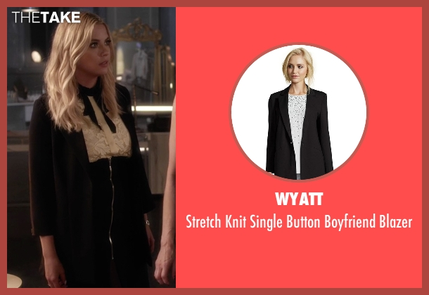 Wyatt black blazer from Pretty Little Liars seen with Hanna Marin (Ashley Benson)