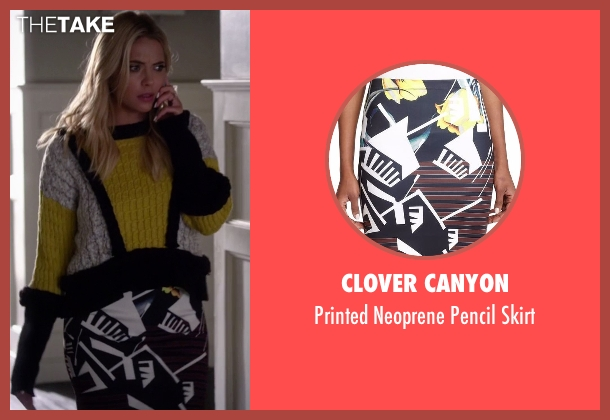 Clover Canyon black skirt from Pretty Little Liars seen with Hanna Marin (Ashley Benson)