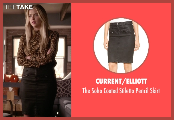 Current/Elliott black skirt from Pretty Little Liars seen with Hanna Marin (Ashley Benson)