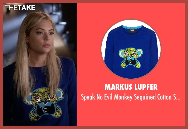 Markus Lupfer blue sweater from Pretty Little Liars seen with Hanna Marin (Ashley Benson)