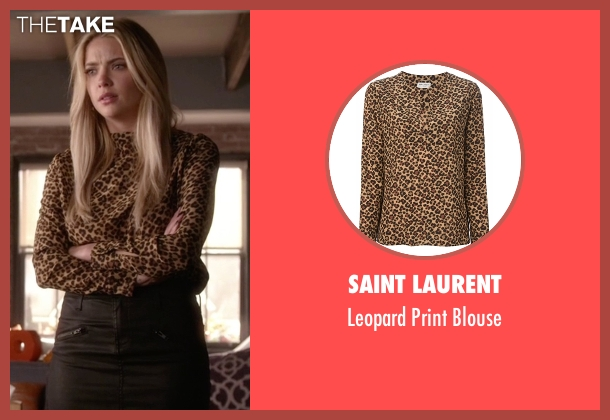 Saint Laurent brown blouse from Pretty Little Liars seen with Hanna Marin (Ashley Benson)