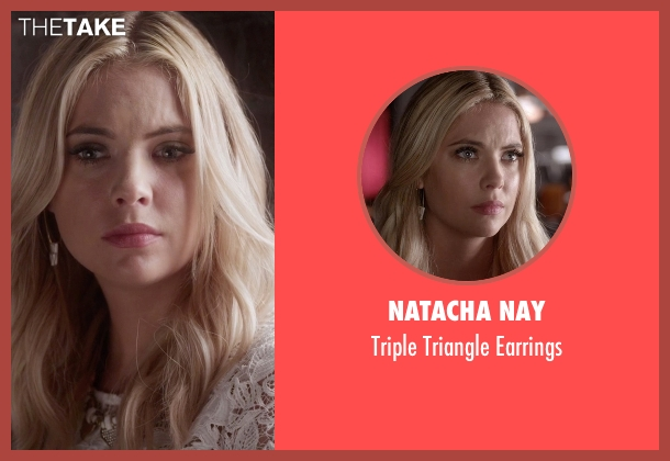 Natacha Nay gold earrings from Pretty Little Liars seen with Hanna Marin (Ashley Benson)