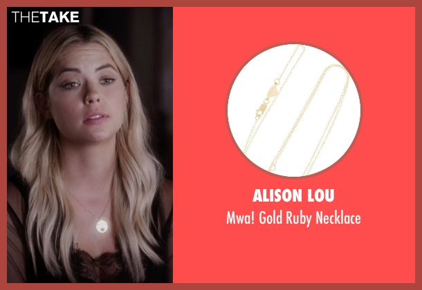 Alison Lou gold necklace from Pretty Little Liars seen with Hanna Marin (Ashley Benson)