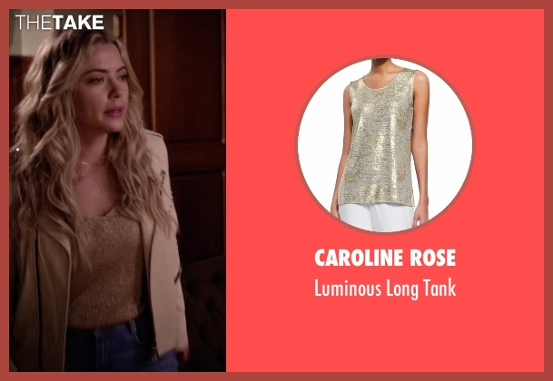 Caroline Rose gold tank from Pretty Little Liars seen with Hanna Marin (Ashley Benson)
