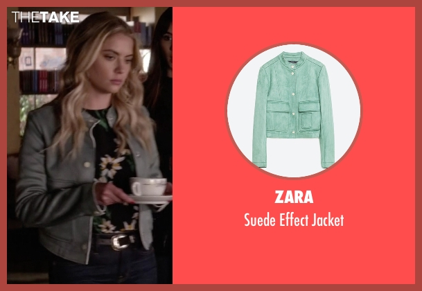 Zara green jacket from Pretty Little Liars seen with Hanna Marin (Ashley Benson)