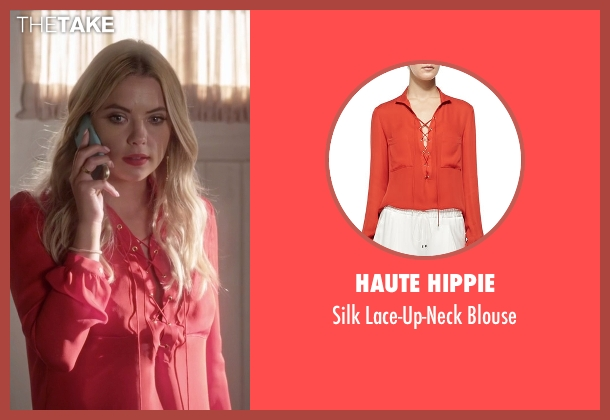 Haute Hippie  orange blouse from Pretty Little Liars seen with Hanna Marin (Ashley Benson)