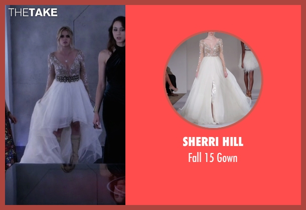 Sherri Hill white gown from Pretty Little Liars seen with Hanna Marin (Ashley Benson)