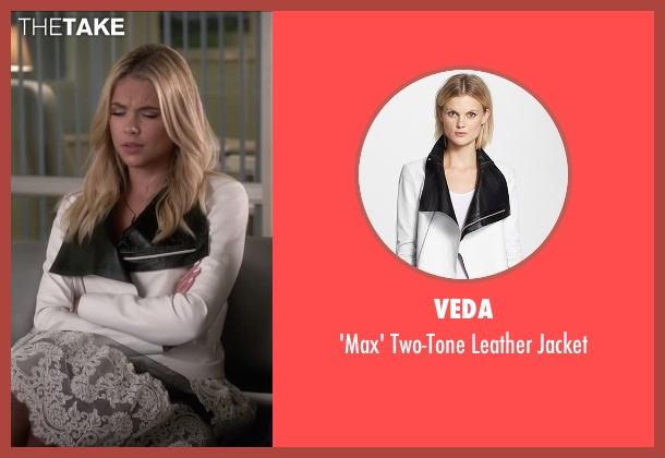 Veda white jacket from Pretty Little Liars seen with Hanna Marin (Ashley Benson)