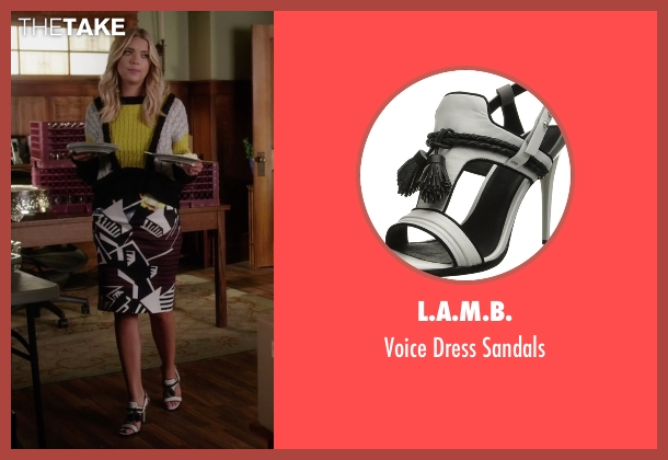 L.A.M.B. white sandals from Pretty Little Liars seen with Hanna Marin (Ashley Benson)
