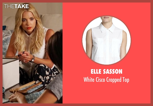 Elle Sasson white top from Pretty Little Liars seen with Hanna Marin (Ashley Benson)