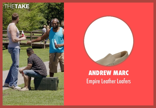 Andrew Marc beige loafers from Get Hard seen with Hans Marrero (Big Guy #3)