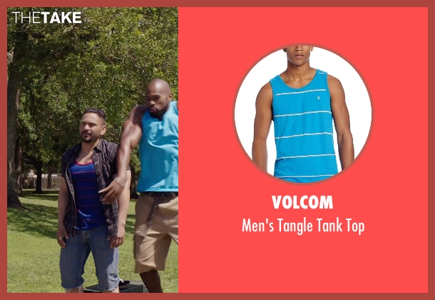 Volcom blue top from Get Hard seen with Hans Marrero (Big Guy #3)