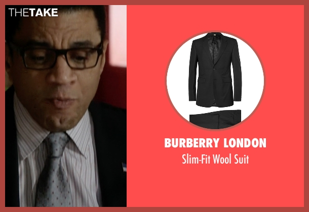 Burberry London black suit from The Blacklist seen with Harold Cooper (Harry Lennix)