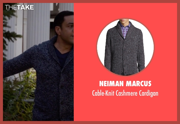 Neiman Marcus gray cardigan from The Blacklist seen with Harold Cooper (Harry Lennix)
