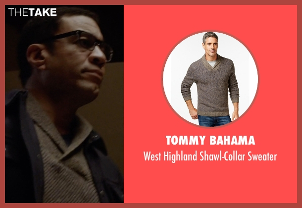 Tommy Bahama gray sweater from The Blacklist seen with Harold Cooper (Harry Lennix)