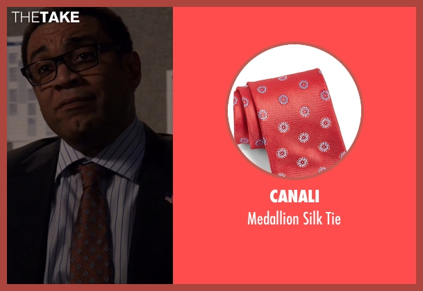 Canali red tie from The Blacklist seen with Harold Cooper (Harry Lennix)
