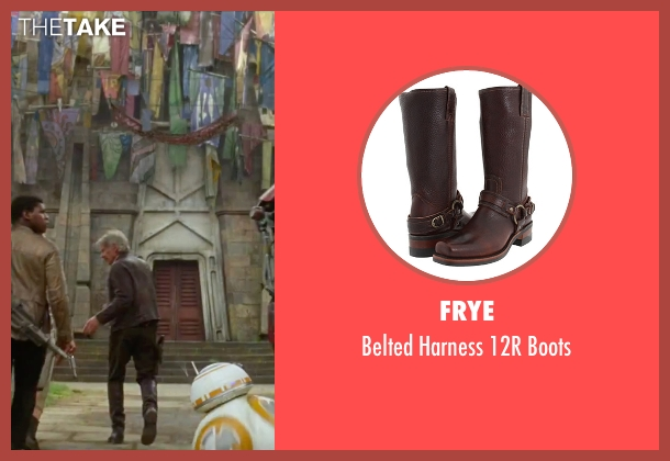 Frye brown boots from Star Wars: The Force Awakens seen with Harrison Ford (Han Solo)