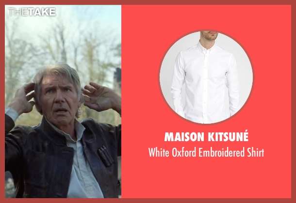 Maison Kitsuné white shirt from Star Wars: The Force Awakens seen with Harrison Ford (Han Solo)