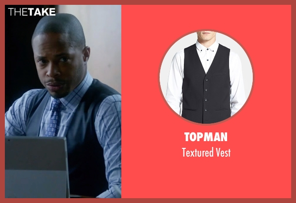 Topman black vest from Scandal seen with Harrison Wright  (Columbus Short)