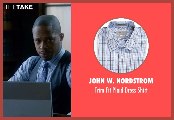 John W. Nordstrom blue shirt from Scandal seen with Harrison Wright  (Columbus Short)