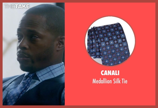 Canali blue tie from Scandal seen with Harrison Wright  (Columbus Short)