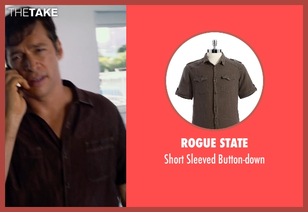 Rogue State brown button-down from Dolphin Tale 2 seen with Harry Connick Jr. (Dr. Clay Haskett)