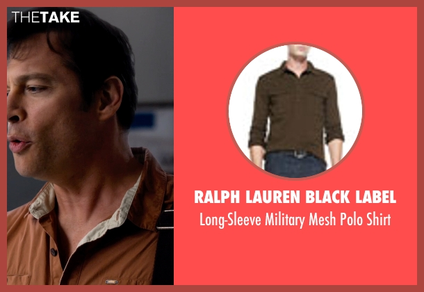 Ralph Lauren Black Label brown shirt from Dolphin Tale 2 seen with Harry Connick Jr. (Dr. Clay Haskett)
