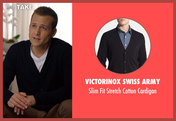 Victorinox Swiss Army black cardigan from Suits seen with Harvey Specter (Gabriel Macht)