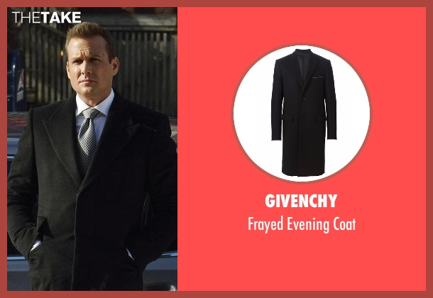 Givenchy black coat from Suits seen with Harvey Specter (Gabriel Macht)