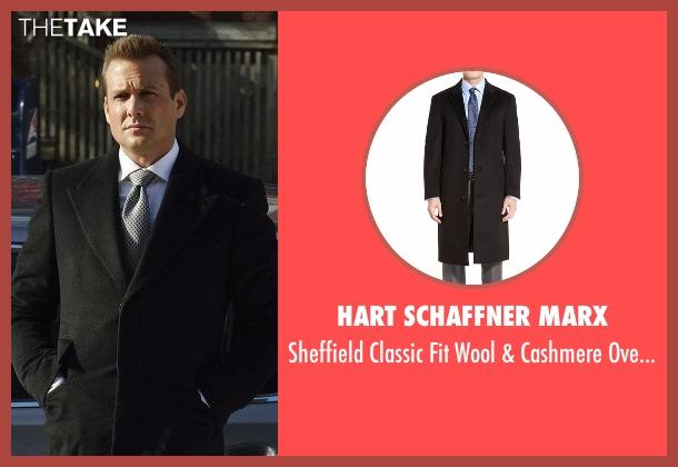 Hart Schaffner Marx black overcoat from Suits seen with Harvey Specter (Gabriel Macht)
