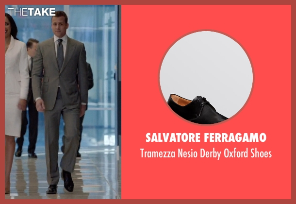 Salvatore Ferragamo black shoes from Suits seen with Harvey Specter (Gabriel Macht)