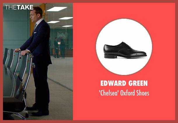 Edward Green black shoes from Suits seen with Harvey Specter (Gabriel Macht)